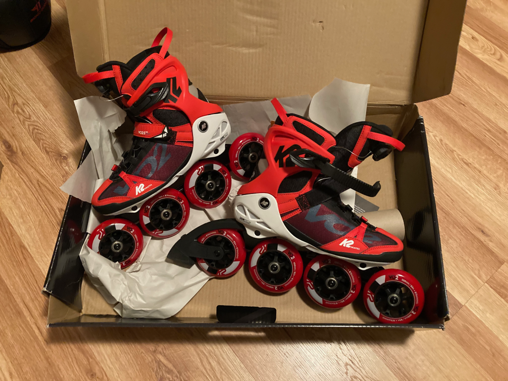 K2 inline skates resting in original packaging material